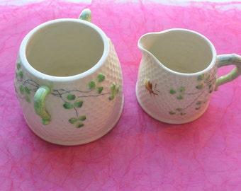 Shamrock Sugar & Creamer - Pottery, Bee, Like Belleek - Vintage - Rare, Beautiful!
