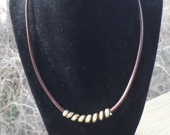 Brown Leather Choker Necklace with Antique Brass Spiral Center, Tierra Cast Ends and Antique Brass Lobster Clasp