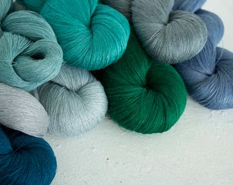 Set of 8 linen skeins -  mix blue-green-grey-teal