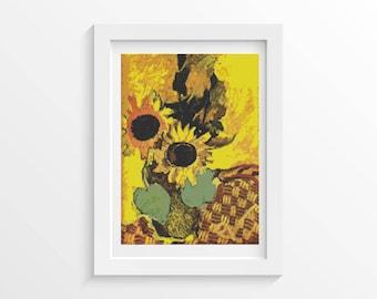 Flowers Cross Stitch Kit, Sunflowers Cross Stitch, Art Cross Stitch, Floral Cross Stitch, Georges Braquethe (BRAQU01)