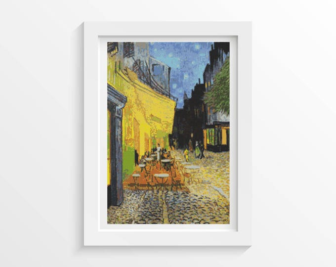 Cross Stitch Pattern PDF, Embroidery Chart, Art Cross Stitch, Architecture, Cafe Terrace at Night by Vincent Van Gogh (VGOGH05)