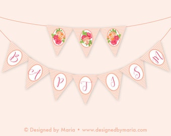 Baptism Party Banner Decoration - Instant Download Girl or Woman Bunting - Baptism, Blessing Christening - Pink Floral Decor