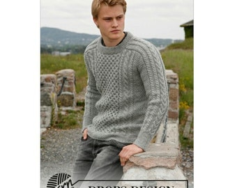 Hand knitted boys mens aran style jumper sweater 13/14yrs to mens XXXL 100% wool - made to order