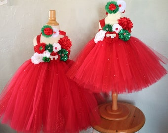 Red and Green Sparkle Christmas Tutu Dress - infant thru girls 10