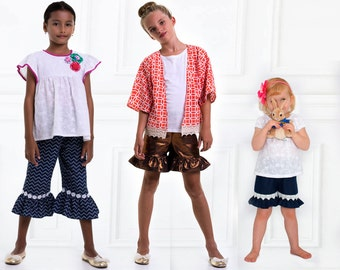 ruffle pants pattern, girls pants pattern pdf, girls shorts pattern, pants sewing pattern, pants pattern, capri pattern, KACI Pants