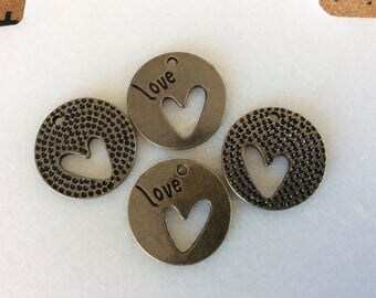 """Antique bronze round """"love"""" carved hollow heart charm pendants"""