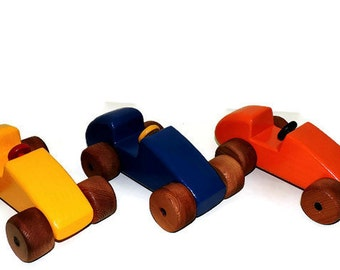 Wooden toy cars, set of three wooden toy race cars