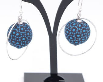Earrings fabric loincloth wax Burgundy, blue and and Silver 925