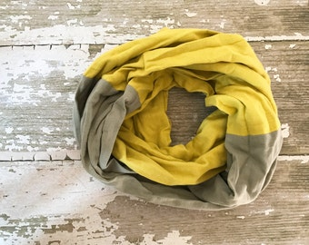 Double Gauze Infinity Scarf in Dark Gray and Mustard