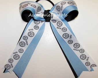 Volleyball Hair Bow, Blue Volley Ball Clip, Blue Black Volleyball Ponytail Holders, Volleyball Team Bulk Bows, Volleyball Ribbons Cheap Bows
