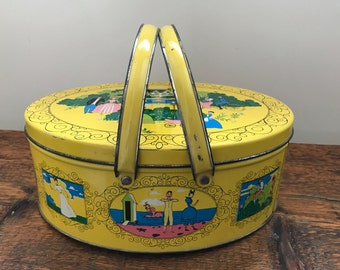 Vintage Yellow Oval Metal Handled Tin, Tin Biscuit Box by Saul Stein Associates 1952, Yellow Tin with Victorian Scenes, Cookie Tin