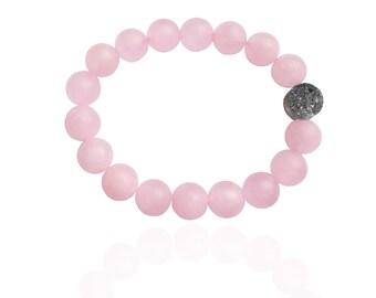 Rose Quartz Loving Intention Bracelet with Druzy Quartz