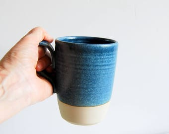 Handmade mug Ceramic mug Blue clay mug Ceramic and pottery mug Coffee mug Tea mug Stoneware mug Large mug Wheel thrown mug One of a kind mug