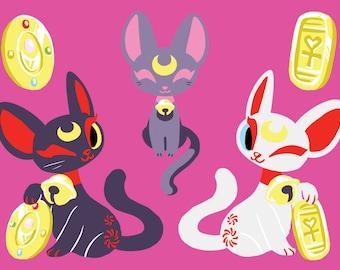 "SAILOR MOON CATS ""Mooneki Neko"" Vinyl Stickers. Maneki Neko Style Sailormoon Cats Artemis, Luna and Diana on Metallic Vinyl."