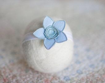 Blue Newborn Headband, Blue Headband, Silver and Blue Newborn Headband, Sky Blue Flower Headband, Blue Headband