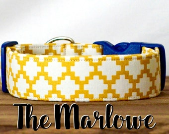 "Mustard Geometric Unisex Dog Collar ""The Marlowe"""