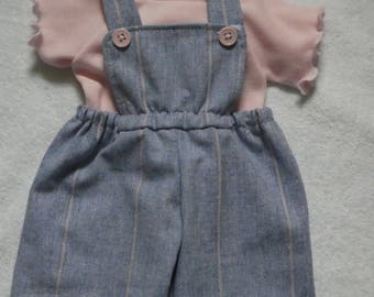 "fits 16"" Cabbage Patch doll ,overalls t shirt and hair bows, tee shirt and pants, pants outfit,doll pants, doll clothes,girls overalls"