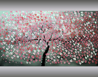 Red Cherry Blossoms, Acrylic Painting, 72 x 40, Abstract Painting, Flowers,  Wall Decor, Large Painting, Canvas Art, Wall Art, FREE SHIPPING