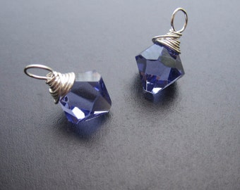 TANZANITE Swarovski Crystal BICONE drops, Interchangeable earrings and necklace pendant