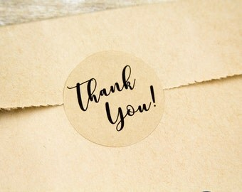 Thank You Stickers - Thank You Labels - Small Business - Weddings - Favor Stickers - 1.25 inches - 48 Pieces