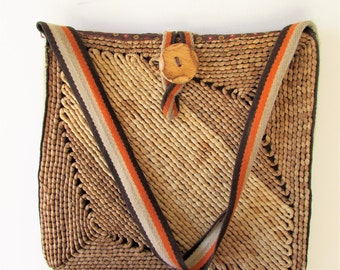 Vintage Brown Woven Grass Reed Narrow Treasures of Florance Market Bag