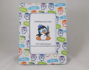 Sale!!! Friends Owl Decoupage Picture Frame 6 by 4 Inches Embellished