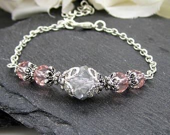 Grey and Pink Bridesmaid Bracelets, Silver Grey Wedding Jewellery,  Pink and Silver Crystal Bridal Sets, Mercury Bridesmaid Gift Idea,