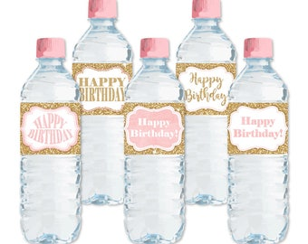 Printable Water Bottle Labels, Happy Birthday Bottle Labels, Bottle Wraps, Blush Pink Gold Glitter Birthday Party Labels, Instant Download