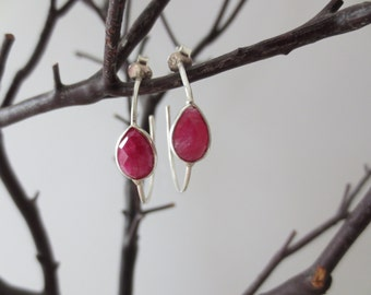 Ruby earrings, ruby hoop earrings, ruby earrings sterling silver, gemstone hoop earrings