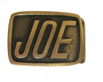 Vintage Joe Name Belt Buckle -  Gift Idea for him - boyfriend dad brother husband - guys - solid brass - Personalized