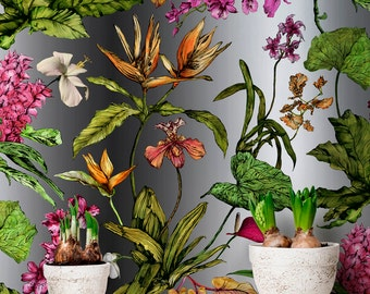 Tropical Wallpaper - Hothouse Botanical Pattern with Orchids and Leaves