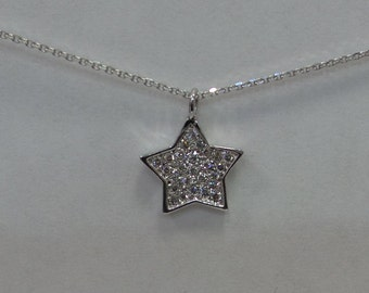 Star Necklace with Diamonds 14k White Gold/ Gold Star Necklace/ Diamond Star Necklace/ 14k Gold Lucky Star Necklace/ Tiny Star/ Dainty Star