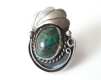 Navajo Turquoise Sterling Silver Ring With Feather Size 5 1/2