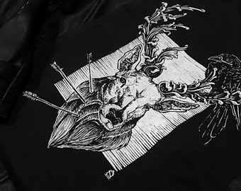 Stag with Algiz Rune Back Patch