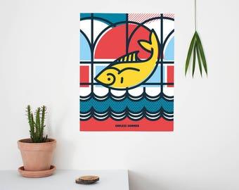 Endless Summer, Pop Art, Summer, Greek Island, Fish, landscape, Colour, illustration, Wall Art, Home Decor, Poster, 40 x 50cm, Geometric