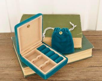 vintage travel jewelry case teal green velvet