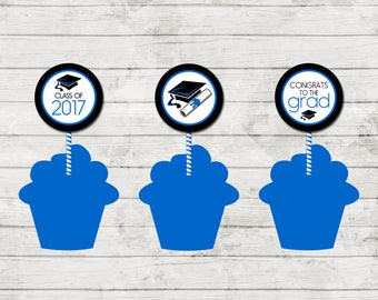 Cupcake Toppers - Graduation - Class of 2017 - Graduation Party - Blue Black and White - INSTANT DOWNLOAD - Printable