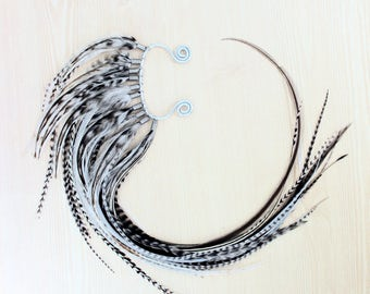 Extra Long Mohawk Black and White Feather Ear Wrap  - One of a Kind Piece