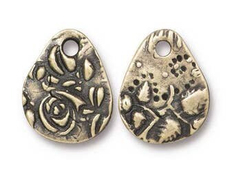 TierraCast Charms, Dulce Vida Collection Flora Charm, Small Bronze Teardrop Charm, Floral Theme, Oxidized Brass - (TC/2495-27) - Qty. 4
