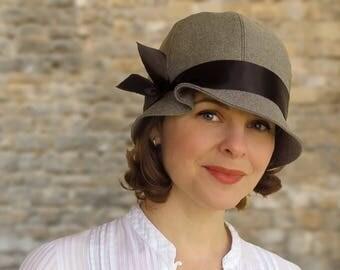 Tess - 1920s Twenties Cloche Grey Black Custom Size Summer Autumn Child Women