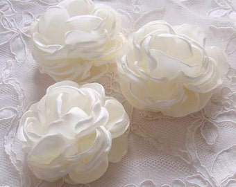 3 Handmade Singed Flower Fabric Flower Fabric Rose (2.5 inches) In Cream  MY-627 Ready To Ship