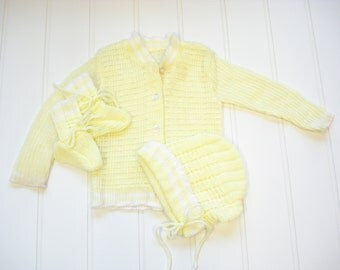 Vintage Baby Clothes, Three Piece Set, Vintage  Sweater Set, Baby Girl Sweater Set, Yellow Sweater Set, 0 to 6 Months.