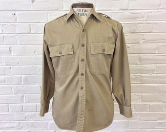 Vintage WWII 1940s US Army Air Force Khaki Cotton Shirt by J. Press. Size 14.5-33 (S)