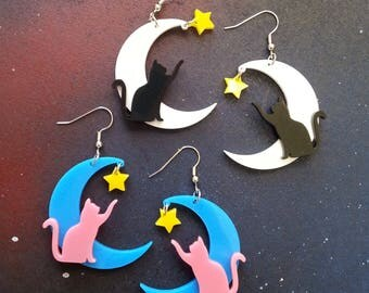 Crescent Moon Cat Star Large Acrylic Dangle Earrings Customization Colors, Hypoallergenic