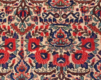 Antique Persian Afshari Rose Rug -- 8 ft. by 5 ft. 4 in.