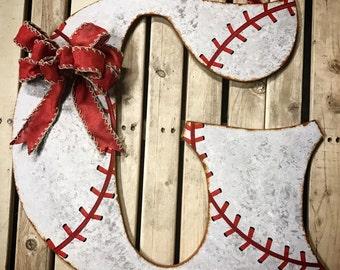 FREE SHIPPING-Baseball Wreath-Baseball Decor-Initial Door Hanger-Door Decor-Baseball Letters-Wall Letters-Vintage Baseball-Wood Letter