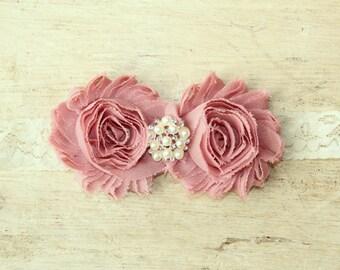 Dusty Rose and Ivory Shabby Flower Lace Headband with Pearl & Rhinestone Center - Ivory Headband - Baby Headband, Newborn Headband - Vintage