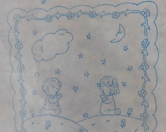 1985 Quilt Top to embroider NIGHT TIME PRAYERS peach new in package