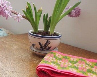 Vintage Pink Flower Fabric Strip Long Length