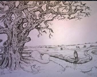 The Mighty Oak- Original artwork, charcoal pencil